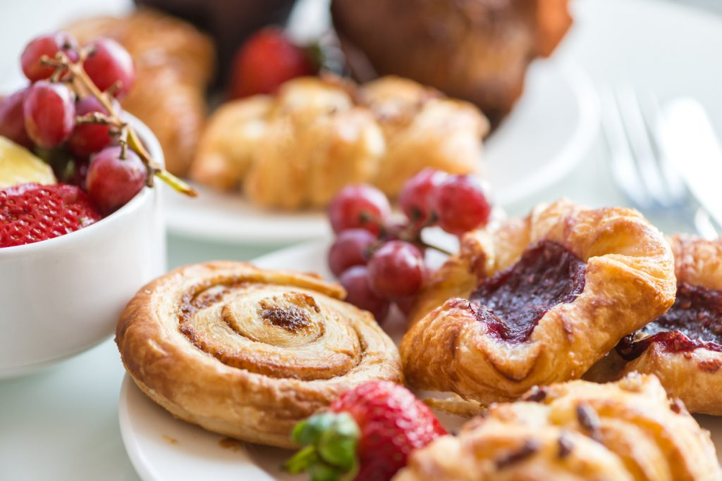 Cinnamon Bun, Danishes, Rolls, Muffins, Fresh Fruit
