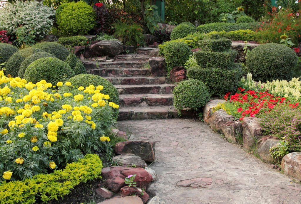 stone walkway in flower Garden Show